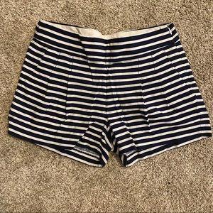 Jcrew Navy & White Pleated Shorts